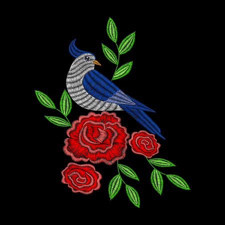 Embroidery stitches with red rose flowers, blue bird. Vector fashion ornament on black background for textile, fabric traditional folk decoration.