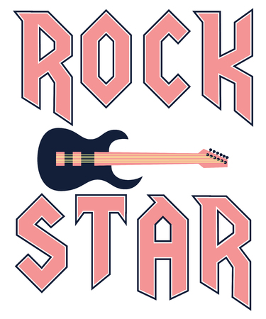 rock star fashion slogan in rock style with guitar vector illustration for print