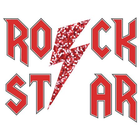 rock star glitter fashion slogan in rock style