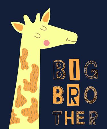 big brother slogan modern fashion vector illustration with giraffe for print