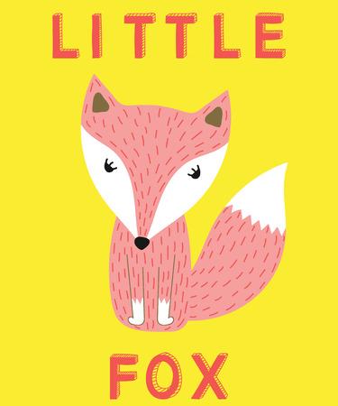 Little fox slogan pink animal