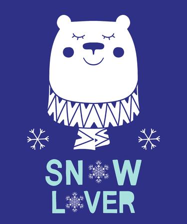Snow lover slogan bear animal Ilustrace