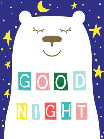Good night slogan with bear face