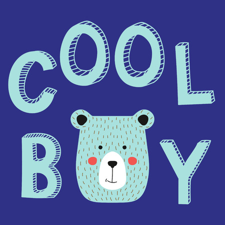 Cool boy slogan with bear face