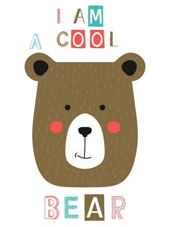 I am a cool bear slogan with face