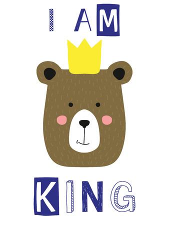 I am king slogan with bear face