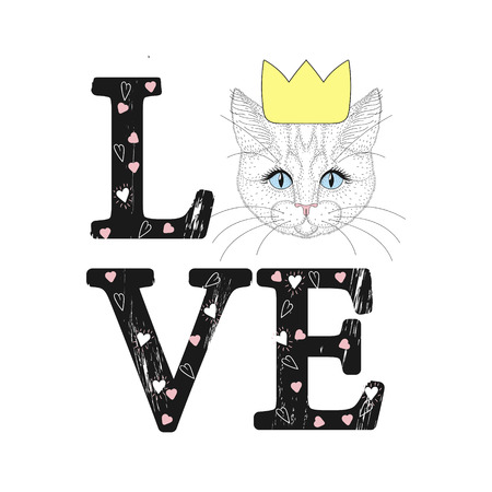Fashion print with cat face. Love word with hearts. Ilustrace