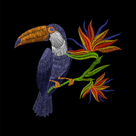 Embroidery toucan with tropical flowers. Vector artwork illustration for fashion clothing, patches and stickers. Exotic bird and hawaii leaves for decor, fabric design elements. Ilustrace