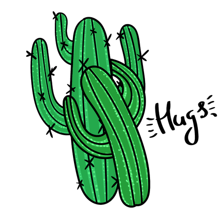 Couple of cactus with message Hugs. Modern fashion background Ilustrace