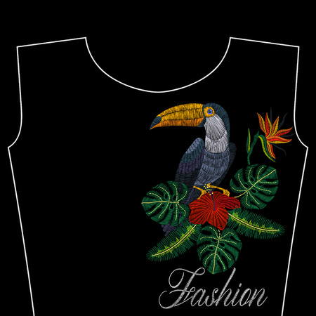 Embroidery toucan with tropical flowers, fashion word, vector illustration for girls dress, woman t-shirt, design apparel, vintage graphic stitch, modern style. Ilustrace