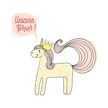 Fashion patch, print. Type forever unicorn. Hand drawn sketch.