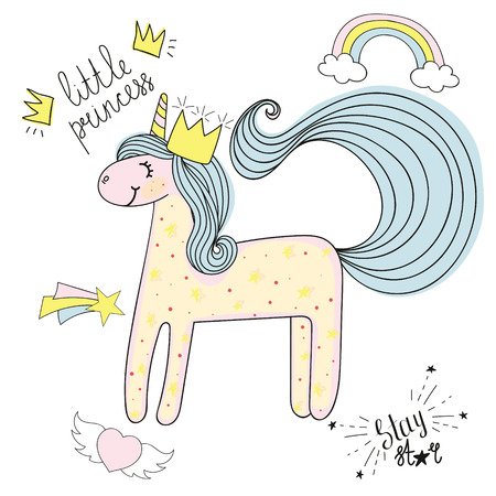 Unicorn hand drawn sketch with patches, types.