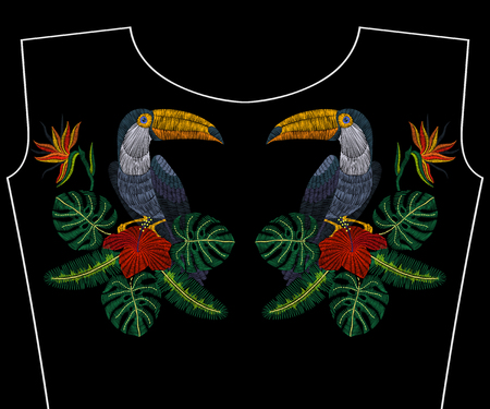 Embroidery toucan with tropical flowers for fashion necklace, vector illustration for girls dress, woman t-shirt, design apparel, vintage graphic stitch, modern style. Ilustrace