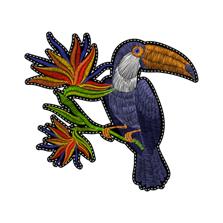 Embroidery toucan with tropical flowers for fashion clothing, patches and stickers. Exotic bird and hawaii leaves for decor, fabric design elements. Ilustrace