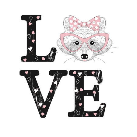 Fashion print with raccoon face. Love word with hearts. Ilustrace
