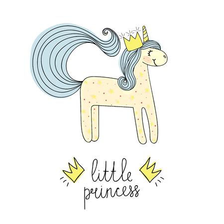 Message little princess with unicorn. Hand drawn sketch. Fashion patch, print. Ilustrace