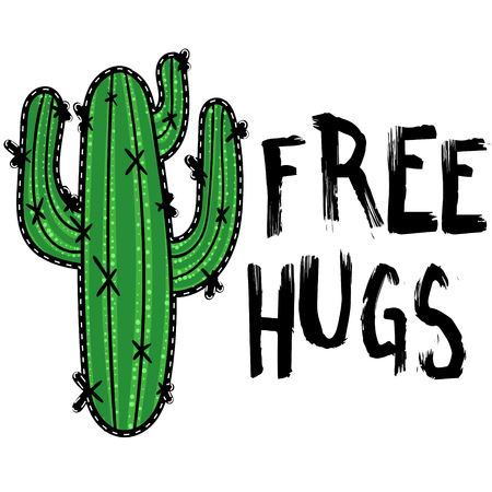 Cactus with message Free hugs. Modern fashion background