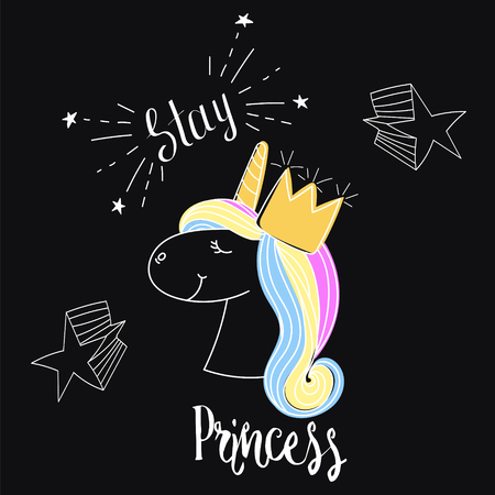 Fashion print. Type Stay Queen. Slogan with unicorn.