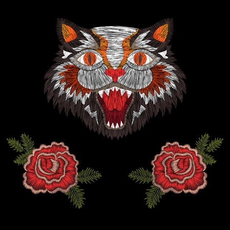 tiger cat with roses fashion embroidery patch