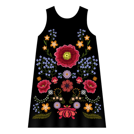 Poppy embroidery vector illustration for girls dress template, floral woman design