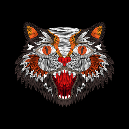 tiger cat fashion embroidery patch