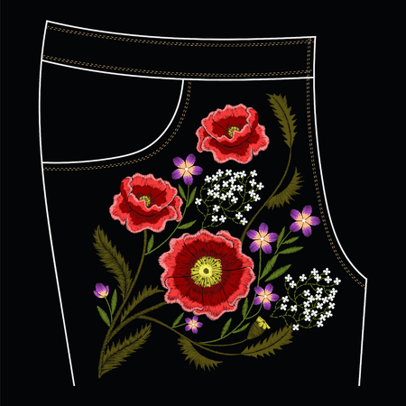Poppy embroidery stitches for jeans vector traditional fashion decoration Ilustrace