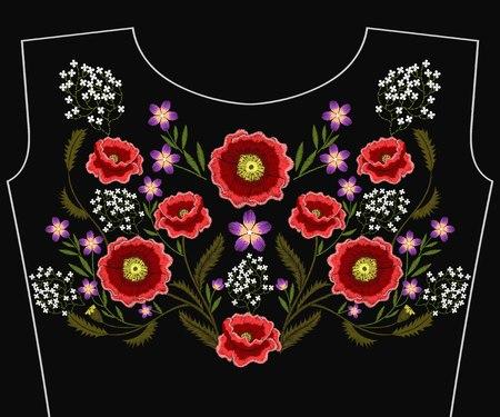 Broderie de fleurs de pavot pour le décolleté. Mode vecteur brodé d'ornement floral, motif de fantaisie pour textile, décoration folklorique traditionnelle de tissu.