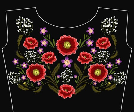 Embroidery poppy flowers for neckline. Vector fashion embroidered floral ornament, fancywork pattern for textile, fabric traditional folk decoration. Ilustrace