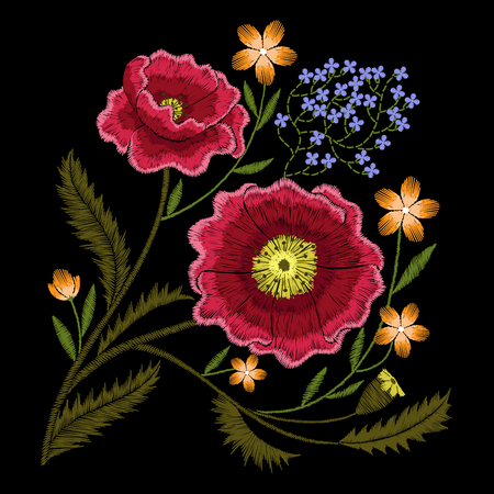 red poppies embroidery with wildflowers forget me not flowers, floral decoration element for fashion dress Ilustrace