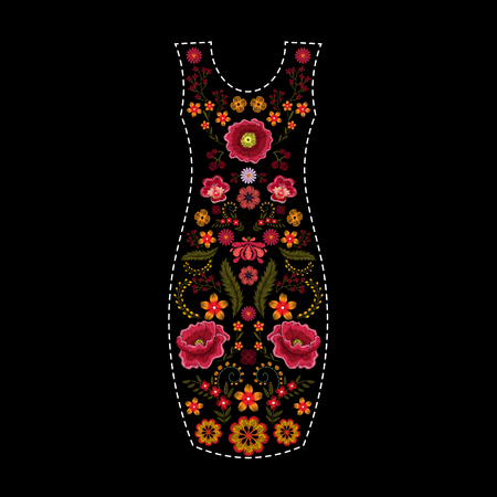 Fashion dress template with floral embroidery, embroidered flowers patch