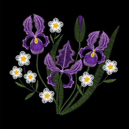 Iris flowers with chamomile embroidery, vector fashion illustration. Violet embroidery template, spring purple irises, wildflowers on black background.