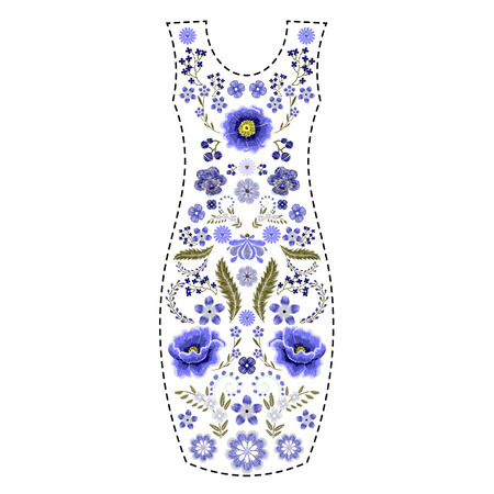 Fashion dress template with traditional russian floral embroidery, embroidered flowers patch