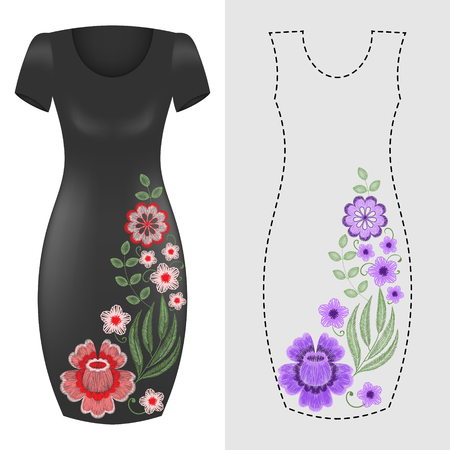 Fashion dresses template with pink blue floral embroidery, embroidered flowers, wildlflowers. Vintage design elements.