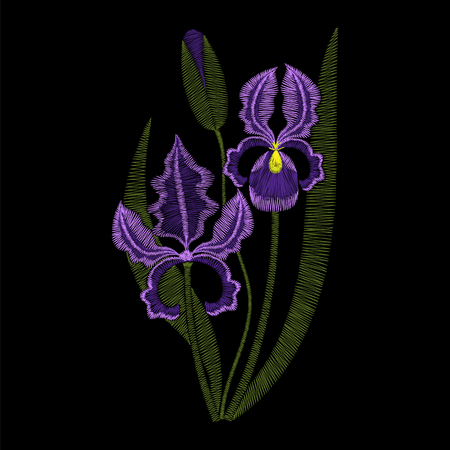 Iris flowers embroidery, vector fashion illustration. Violet embroidery template, spring purple irises on black background.