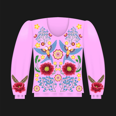 Pink sweatshirt template with swallow birds, floral embroidery, fashion embroidered flowers. Vintage design elements. Ilustrace