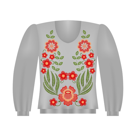 Sweatshirt template with roses, floral embroidery, fashion embroidered flowers. Vintage design elements.
