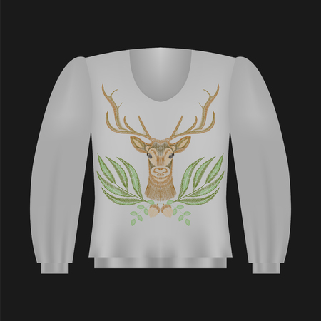 Sweatshirt template with deer, floral embroidery, fashion embroidered patch. Vintage design elements. Ilustrace
