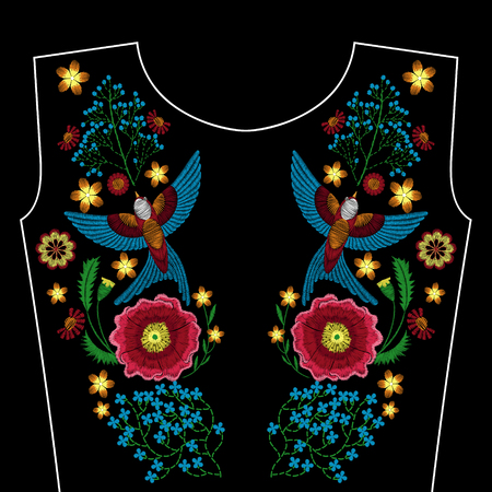 Embroidery flowers birds for neckline. Vector fashion ornament on black background for textile, fabric traditional folk decoration.