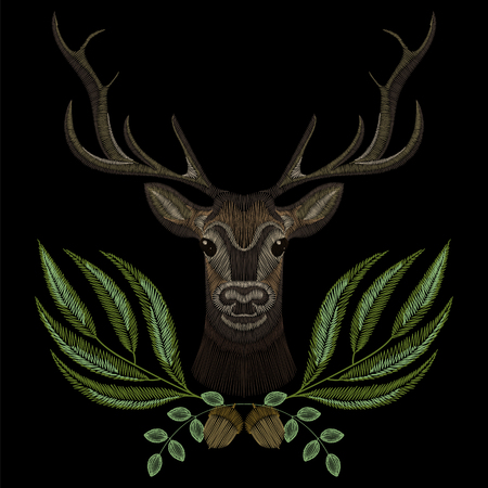 Forest deer face with green wreath, embroidery for fashion design wearing. Ilustrace