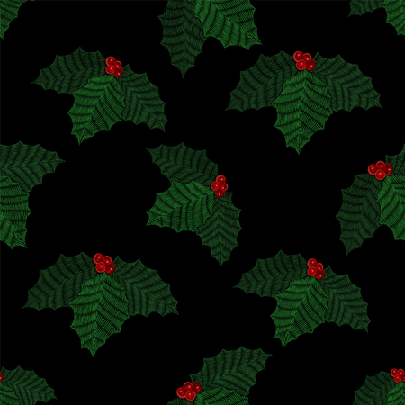 Embroidered mistletoe seamless pattern. Vector fashion embroidery for Christmas decoration. Ilustrace