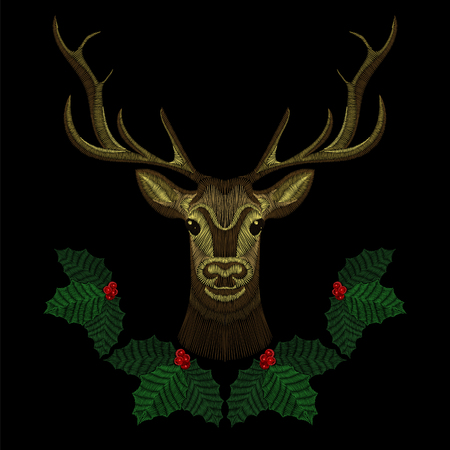 Embroidery cute deer face with Christmas mistletoe wreath, horn-deer for fashion design wearing. Embroidered patch