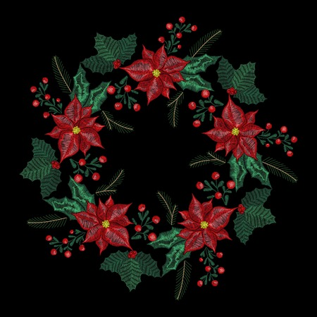 Christmas embroidery patch, wreath with mistletoe, flowers, tree, jingle bells plants  for New Year decoration