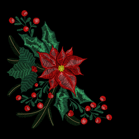 Christmas embroidery patch, wreath with mistletoe, flowers, tree, jingle bells plants pattern for New Year decoration.