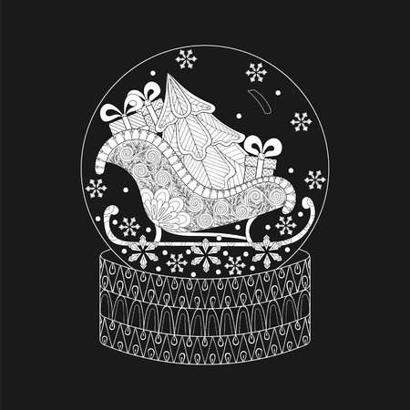 Vector illustration for New Year 2018 posters and greeting cards, doodle zen tangle snow globe with sledge, Christmas tree and gift boxes. For adult coloring book.