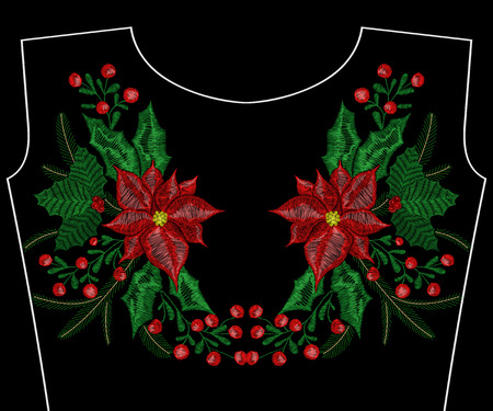 Christmas embroidery patch t-shirt design. Ilustrace