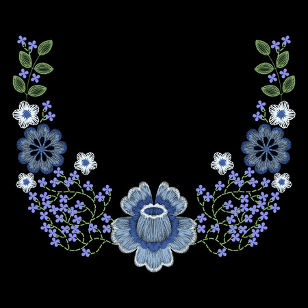 Fashion embroidered floral neckline, embroidery patch for apparel, wearing decoration Ilustrace