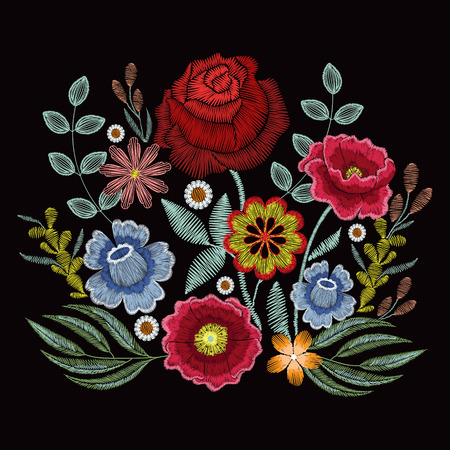 Embroidery spring wild flowers for fashion clothes, apparel decoration Vectores