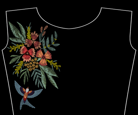 Embroidery swallow with  flowers, berries, plants. Patch for fashion neckline, pattern for apparel decoration Ilustrace