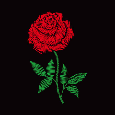 Embroidery rose for fashion clothes, apparel decoration. Ilustrace
