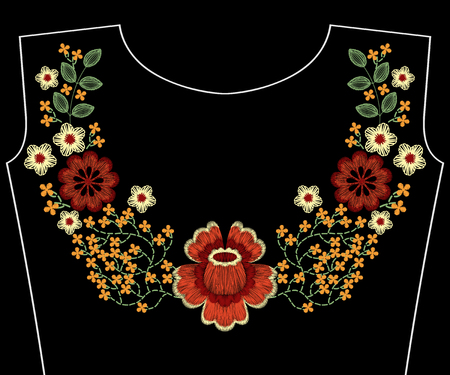 Embroidery fashion patch for neckline with flowers, berries, plants pattern for woman apparel decoration Ilustrace